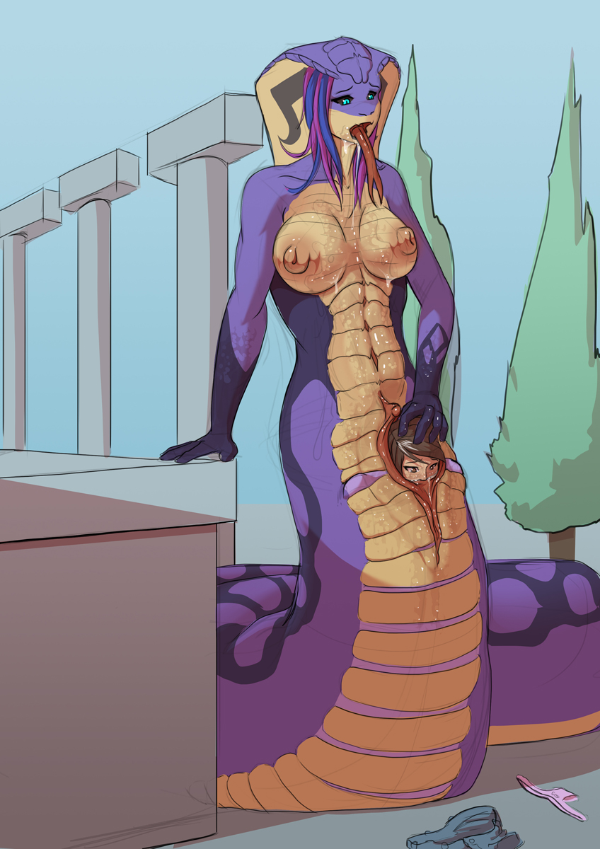 difference and lamia naga between Highschool of the dead crossover